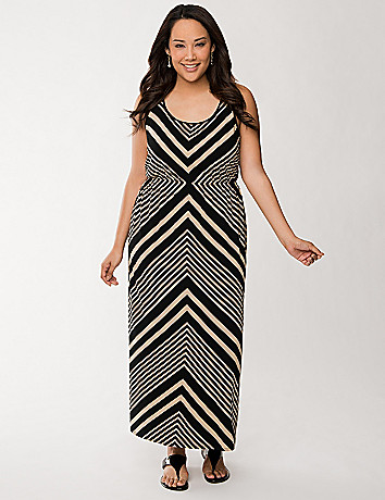 Placed chevron maxi dress