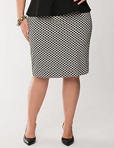 Tile print twill pencil skirt