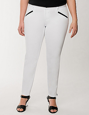 Genius Fit white zip ankle jean