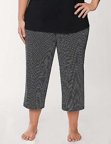 Diamond print cropped sleep pant