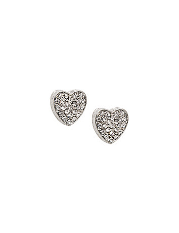 Heart pave stud earrings by Lane Bryant