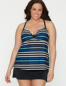 Striped swim tank with built-in balconette bra