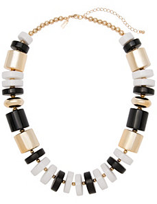 Chunky black & white bead necklace by Lane Bryant