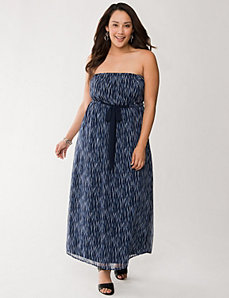 Tie waist chiffon maxi dress