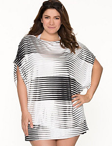Metallic stripe tunic swim cover-up