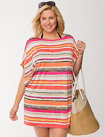 Striped dolman swim cover-up