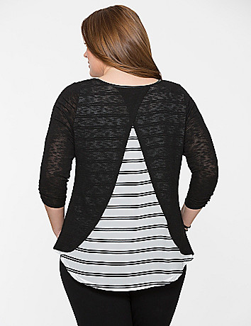 Split back top with striped chiffon