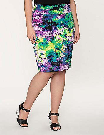 Printed twill pencil skirt