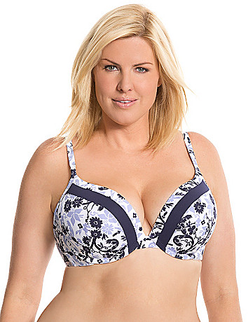 Smooth boost plunge bra with inset trim