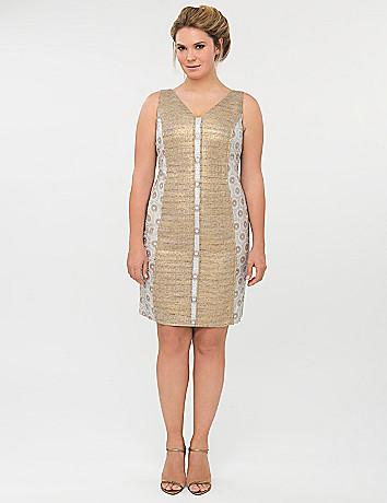 Patterned V sheath dress by Isabel Toledo