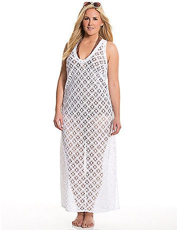 Crocheted maxi swim cover-up