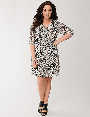Printed chiffon shirt dress