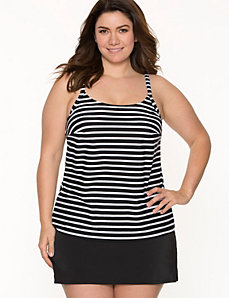 COCOS SWIM striped scoop neck swim tank