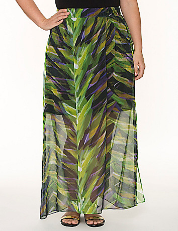 Printed long chiffon skirt