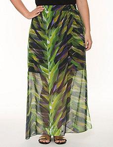 Printed long chiffon skirt