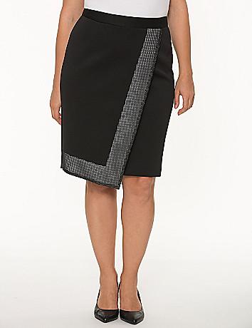 Grid trim pencil skirt
