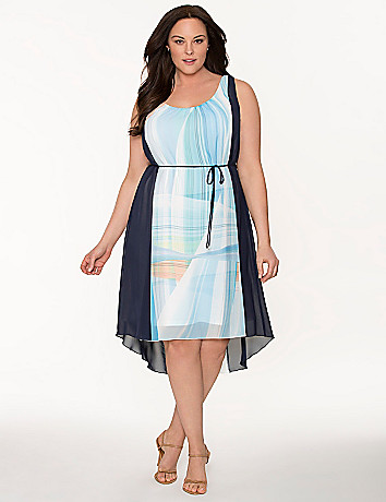 Lane Collection colorblock Grecian dress