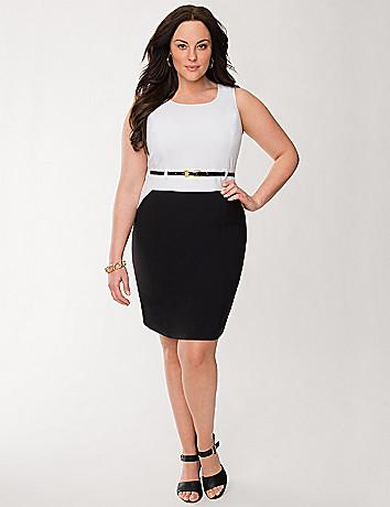 Colorblock sheath dress with belt