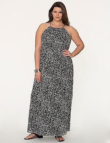 Printed split-back maxi