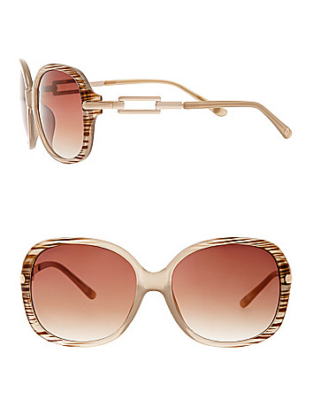 Striped round frame sunglasses