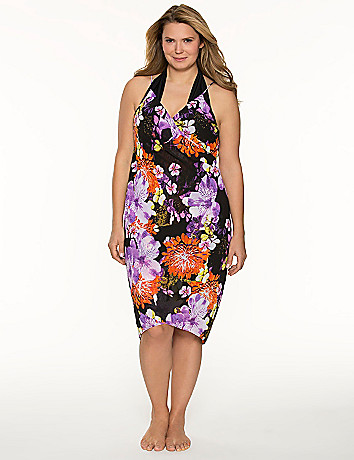 Floral pareo swim cover-up