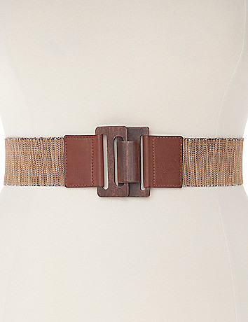 Wood buckle stretch belt