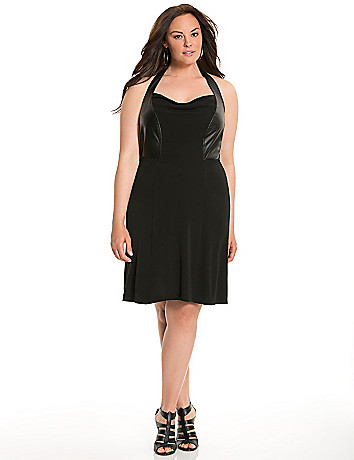 Lane Collection faux leather halter dress