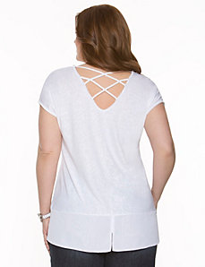 Chiffon hem tunic with cross back