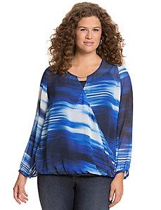 Printed surplice blouse