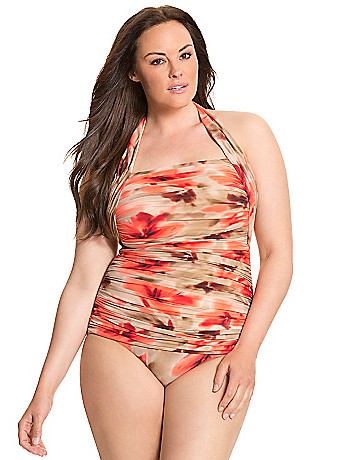 Printed halter maillot by Miraclesuit