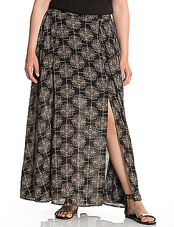 Medallion print long skirt