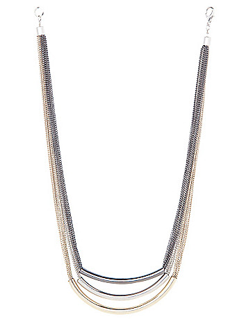 Tri-tone tube necklace by Lane Bryant