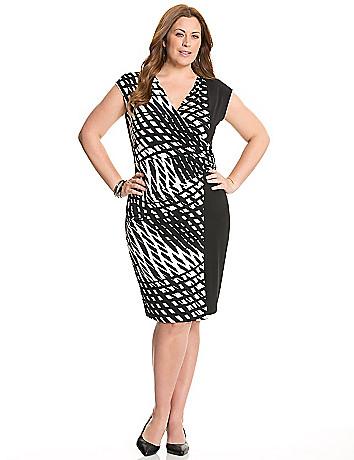 Printed faux wrap dress