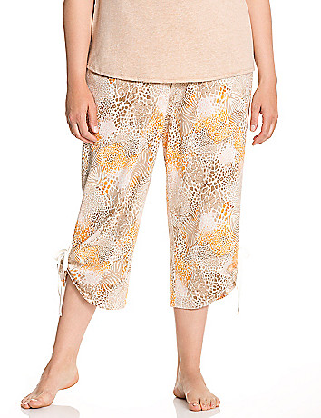 Animal print cropped sleep pant