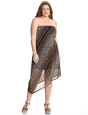 Printed asymmetric tube dress