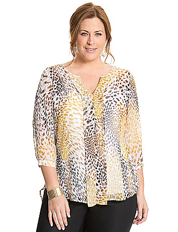 Animal print pleated back blouse