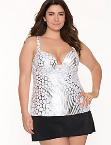 Metallic palm print swim tank with built-in plunge bra