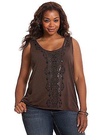 Embellished high-low tank