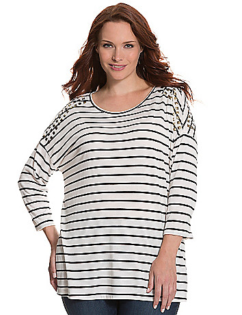Studded striped tee by Seven7