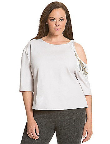 6th & Lane embellished cold shoulder top