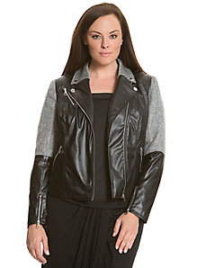 6th & Lane fabric-blocked moto jacket