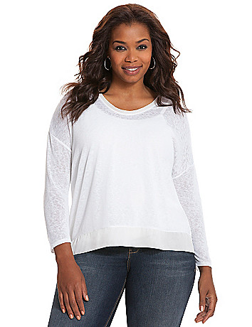 Asymmetric chiffon trim top