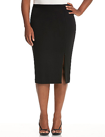 Zipper slit ponte skirt