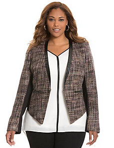 Boucle jacket with faux leather trim
