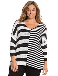 Broken stripe pullover sweater