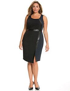 Asymmetric blocked sheath dress