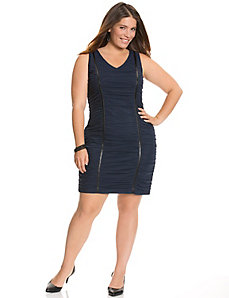 Ruched mesh sheath dress