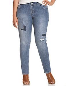 Patchwork skinny jean