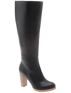 Stacked heel dress boot
