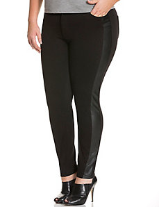Faux leather & ponte pant by DKNY JEANS